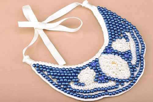 Handmade blue and white bead embroidered collar necklace with white ribbon - MADEheart.com