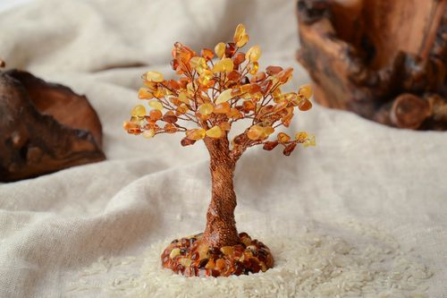 Natural gemstone bonsai with amber - MADEheart.com