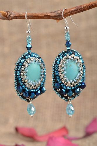 Long handmade festive blue earrings embroidered with beads with turquoise - MADEheart.com