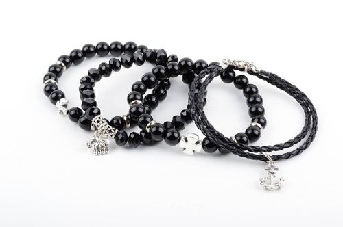 Set of handmade bracelets black female accessories wrist jewelry 4 pieces - MADEheart.com