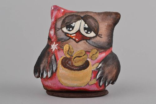 Handmade funny painted soft toy with coffee aroma and wooden stand Owl - MADEheart.com