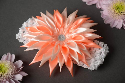 Handmade childs lacy headband with volume tender pink kanzashi flower - MADEheart.com