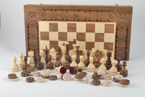 Unusual handmade wooden chessboard chess pieces board games birthday gift ideas - MADEheart.com