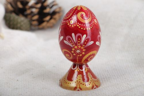 Authors elegant handmade painted red and golden Easter egg  - MADEheart.com