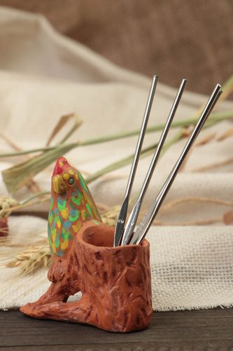 Unusual handmade ceramic stand for pencils with paints decoration  - MADEheart.com
