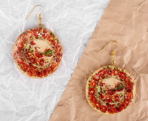 Earrings Firebird with poppies - MADEheart.com