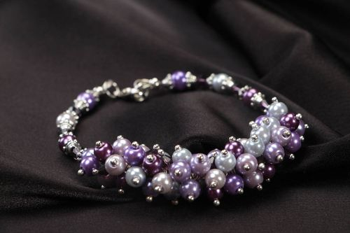 Handmade unusual bracelet lilac stylish accessory female wrist jewelry - MADEheart.com