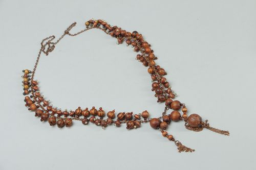 Handmade wooden bead necklace on copper chain - MADEheart.com