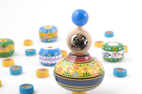 Childrens handmade painted wooden spinning top with ring eco toy - MADEheart.com