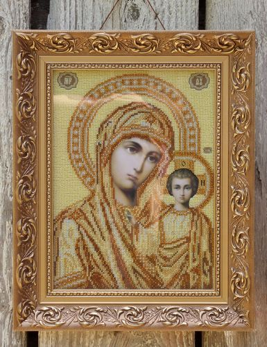 Our Lady of Kazan icon embroidered with beads  - MADEheart.com