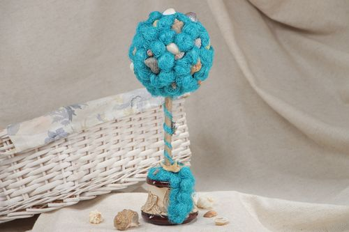 Handmade topiary tree created of natural sisal and cockleshells in blue colors - MADEheart.com