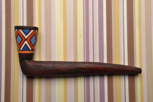 Long wooden smoking pipe with painting - MADEheart.com