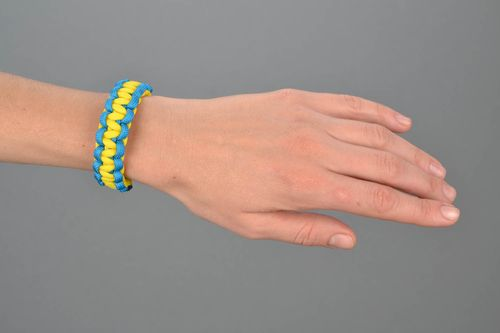 Yellow and blue paracord bracelet  - MADEheart.com