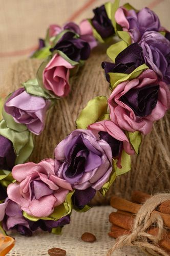 Set of 2 handmade decorative designer headbands with violet kanzashi flowers  - MADEheart.com