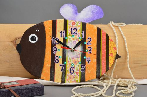 Handmade designer clock unusual nursery decor beautiful clock for kids - MADEheart.com