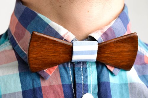 Wooden bow tie handmade designer accessories for men designer bow tie for guys - MADEheart.com