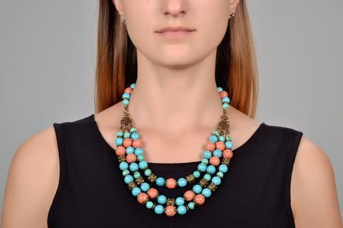Multi row turquoise necklace - MADEheart.com