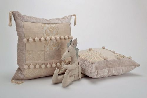 Pillow made from cotton and synthetic down, with tassels - MADEheart.com