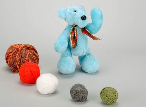 Soft toy of blue color Bear - MADEheart.com