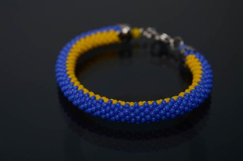 Yellow and blue beaded bracelet - MADEheart.com