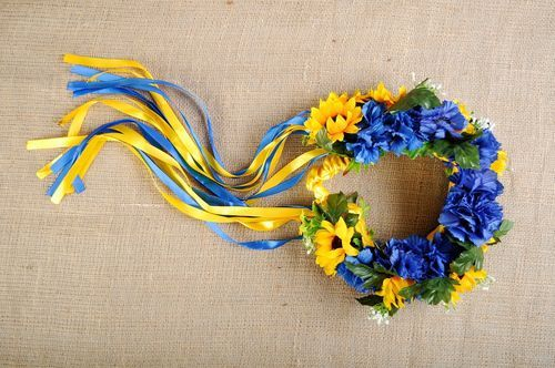 Ukrainian wreath with artificial flowers Yellow and blue - MADEheart.com