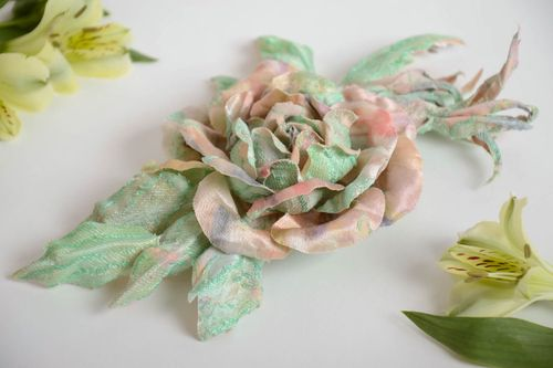 Handmade designer brooch with large volume fabric flower of pastel coloring - MADEheart.com