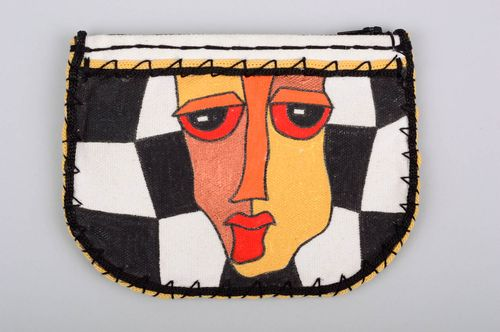 Female purse with painting handmade wallet with zip beautiful acessories - MADEheart.com