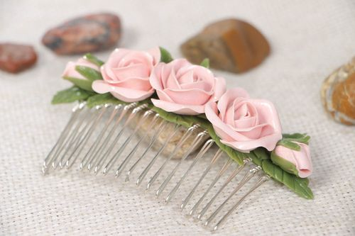 Handmade plastic flower hair comb fashion hair accessories gifts for her - MADEheart.com