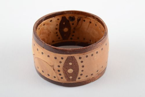 Massive broad wooden handmade wrist bracelet decorated with intarsia for women  - MADEheart.com