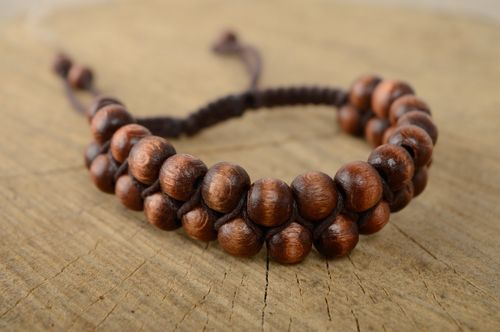 Unusual brown bracelet made of cord and beads - MADEheart.com
