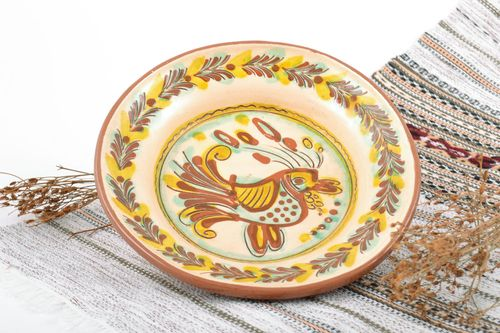 Handmade ceramic plate painted with glaze for home decor handcrafted pottery - MADEheart.com