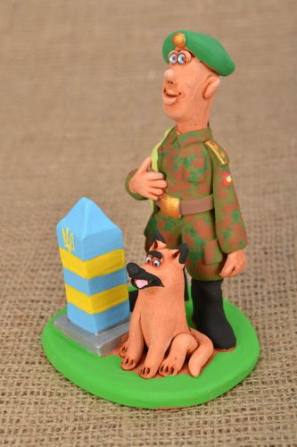 Painted ceramic figurine Border Guard - MADEheart.com