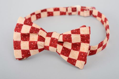 Checkered fabric bow tie  - MADEheart.com
