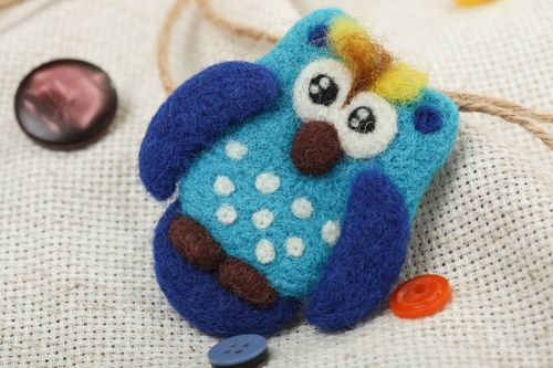 Handmade designer small funny animal brooch felted of wool blue owl for kids - MADEheart.com