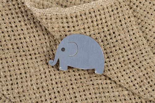 Handmade wooden brooch exclusive beautiful jewelry blue elephant accessory - MADEheart.com