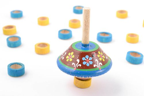 Small handmade childrens painted wooden spinning top toy eco - MADEheart.com