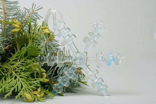 New Years glass decoration Snowflake of blue shade - MADEheart.com