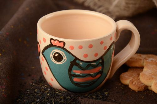 Handmade clay tea cup painted with glaze and enamel 300 ml - MADEheart.com