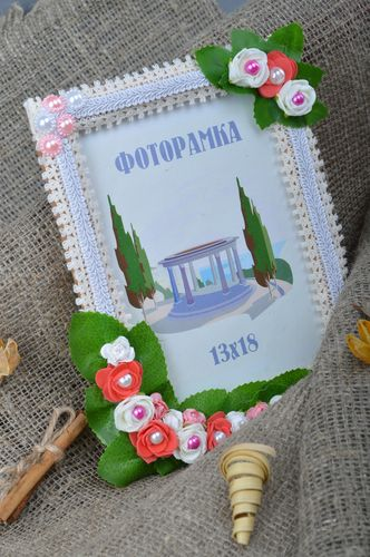 Handmade rectangular tender wooden photo frame with flowers for table decoration - MADEheart.com