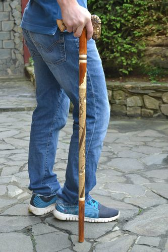 Handmade designer beautiful varnished carved wooden walking cane for men Sheep - MADEheart.com
