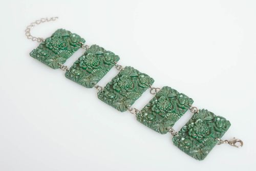 Beautiful handmade designer polymer clay wide wrist bracelet with rectangular beads of green color - MADEheart.com