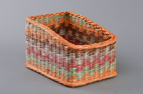 Handmade designer bright colorful decorative basket woven of paper tubes - MADEheart.com