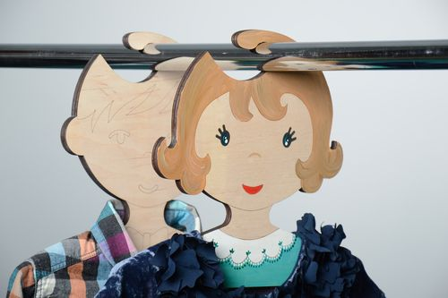 Beautiful plywood childrens clothes hanger in the shape of girl - MADEheart.com