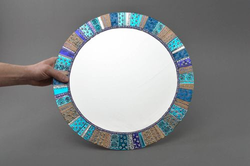 Handmade designer decorative interior round painted in blue wall mirror  - MADEheart.com