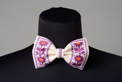 Handmade white bow tie with bright ethnic cross stitch embroidery for men - MADEheart.com