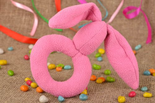 Beautiful pink soft toy in the form of hare for young children handmade baby toy - MADEheart.com