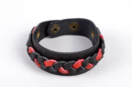 Handmade leather accessories wide leather bracelet vintage jewelry for women - MADEheart.com
