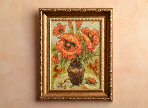 Amber decorated painting in wooden frame Poppies - MADEheart.com