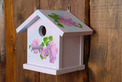 Handmade birdhouse of lilac color - MADEheart.com