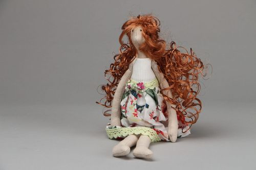 Designer fabric doll Beauty with Copper Hair - MADEheart.com